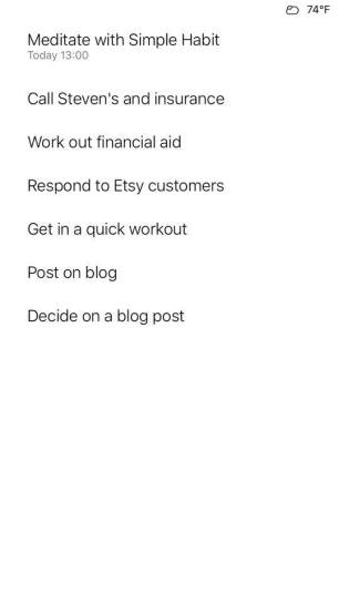 My little to-do list for today
